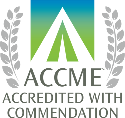 The logo for Accreditation With Commendation from the Accreditation Council for Continuing Medical Education